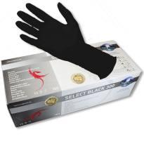 """300 GrößeM Unigloves Select Black """"extra lang"""" ungepudert 100 Stk."""